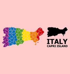 Rainbow mosaic map capri island for lgbt vector