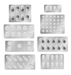 Realistic blister packs pills medical tablet vector