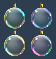 realistic transparent colored christmas balsl on vector image