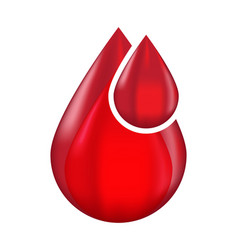 Red blood drop droplet flat icon for medical vector