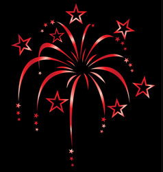 Red stylized fireworks vector