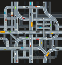 Road junctions on dark background with cars top vector