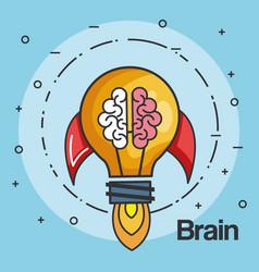 Rocket light bulb shape and brain business start vector