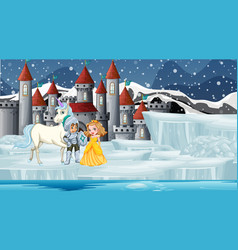 scene with knight and princess at castle vector image