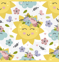 seamless pattern with floral sun and cloud vector image