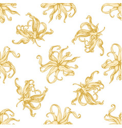 seamless pattern with hand drawn pastel ylang vector image