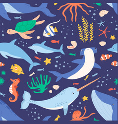 seamless pattern with sea and ocean animals vector image