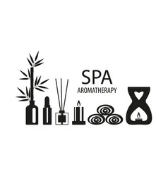 Set for aromatherapy and spa salon diffuser with vector