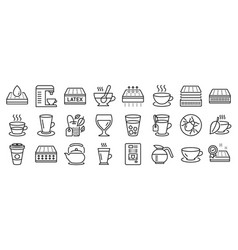 Set interiors icons such as cappuccino latte vector