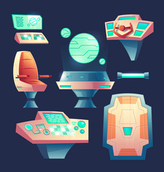set of cartoon spaceship design elements vector image