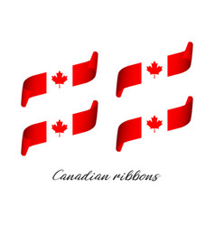 set of four modern colored canadian ribbons vector image