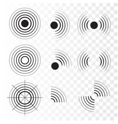 set of radar icons sonar sound waves vector image