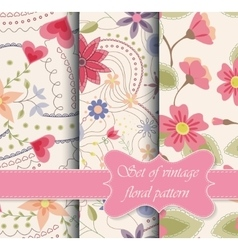 set of seamless patterns vintage floral vector image