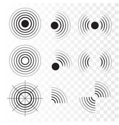 set radar icons sonar sound waves vector image