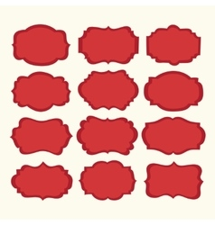 set red vintage labels and frames vector image