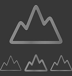 Silver line mountain logo design set vector