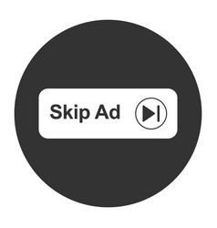 Skip ad button web icon isolated on white vector