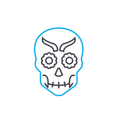 skull mask linear icon concept skull mask line vector image