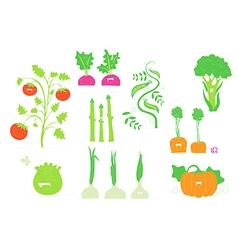 Smiling veggies set vector