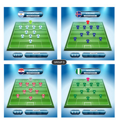 soccer team player plan group d with flags vector image