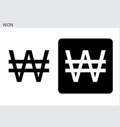 south korean won currency symbol vector image