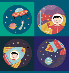 Space cartoon icons collection vector
