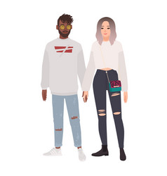 stylish multiracial couple boy and girl dressed vector image