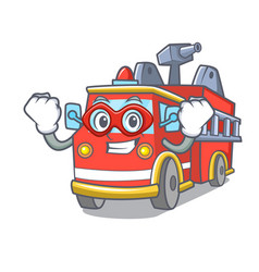 Super hero fire truck character cartoon vector