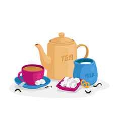 tea drinking concept with cup sugar cubes vector image