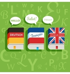 textbooks of English German and French vector image