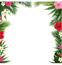 tropical flowers border and beach vector image