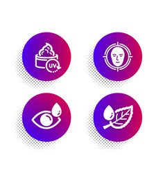 Uv protection face detect and eye drops icons set vector