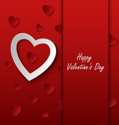 Valentines card with red hearts on background vector image