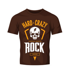 Vintage hard and crazy rock logo isolated vector