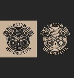 Vintage motorcycle repair service label vector