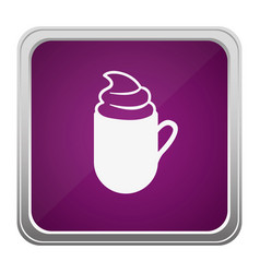Violet square button relief with silhouette cup of vector