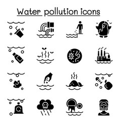 water pollution icon set vector image