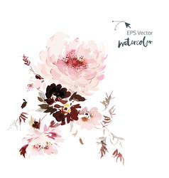watercolor card with flowers on a white background vector image