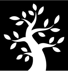 White Bold Tree icon on black background vector