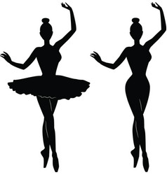 Woman ballet dancer silhouette vector