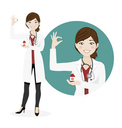 woman doctor with medicines on a white background vector image