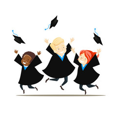 Young graduates rejoice and throw their hats vector
