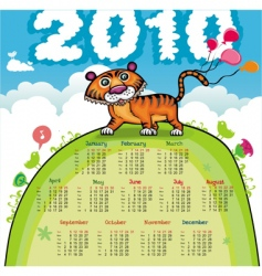 2010 calendar with cute tiger vector image