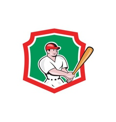 Baseball Player Batting Crest Cartoon vector image