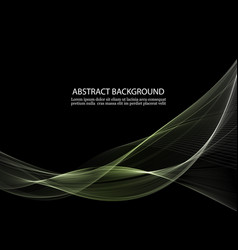 black background with transparent green waves vector image
