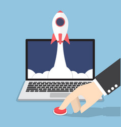 businessman hand pushing the button to launch vector image