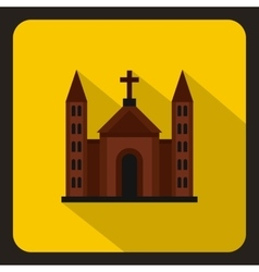 Christian catholic church building icon flat style vector image vector image