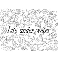 Life under water coloring book vector image