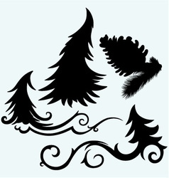 Set christmas trees and pine cone vector image vector image