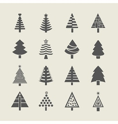 silhouette christmas tree icons set vector image